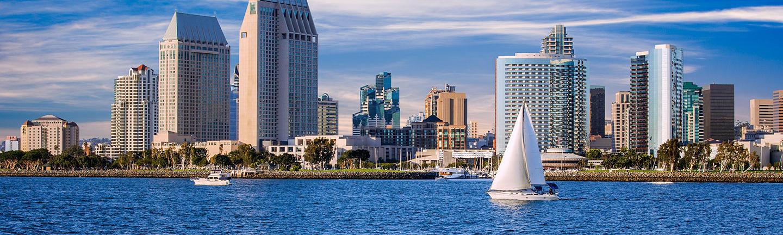 San Diego skyline with boat